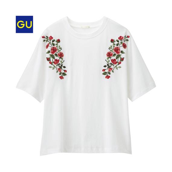 GU刺繍トップス